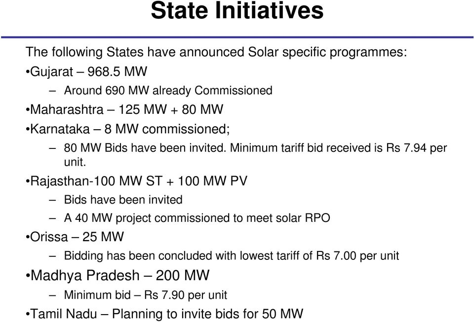 Minimum tariff bid received is Rs 7.94 per unit.