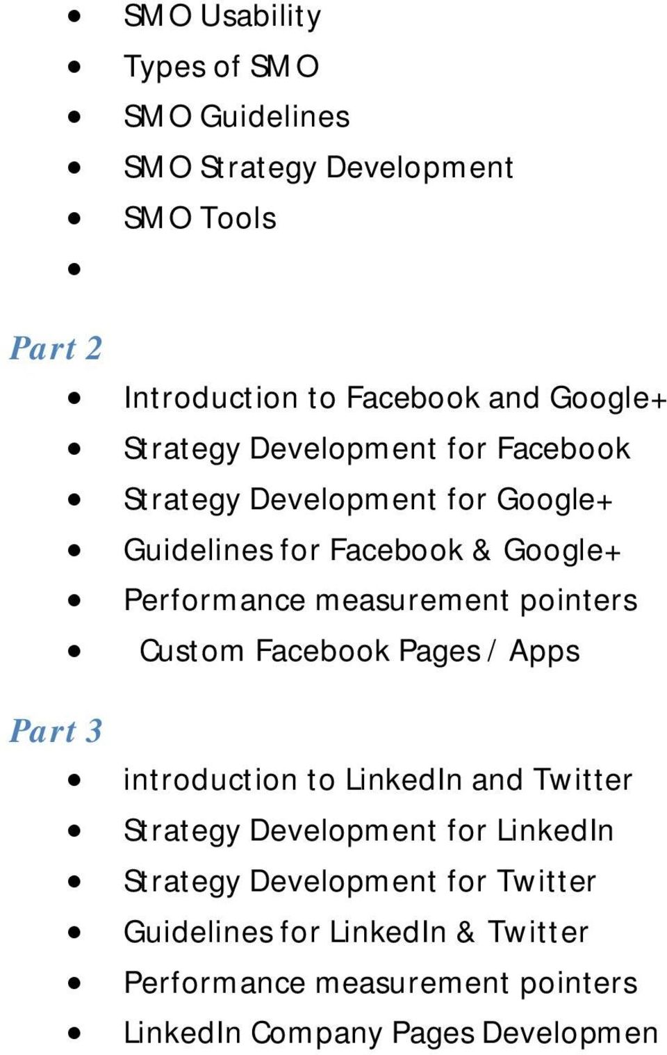 measurement pointers Custom Facebook Pages / Apps introduction to LinkedIn and Twitter Strategy Development for LinkedIn
