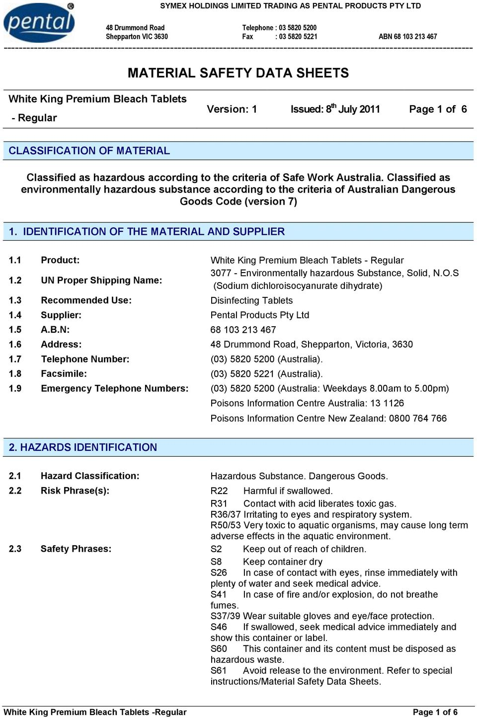 CLASSIFICATION OF MATERIAL Classified as hazardous according to the criteria of Safe Work Australia.