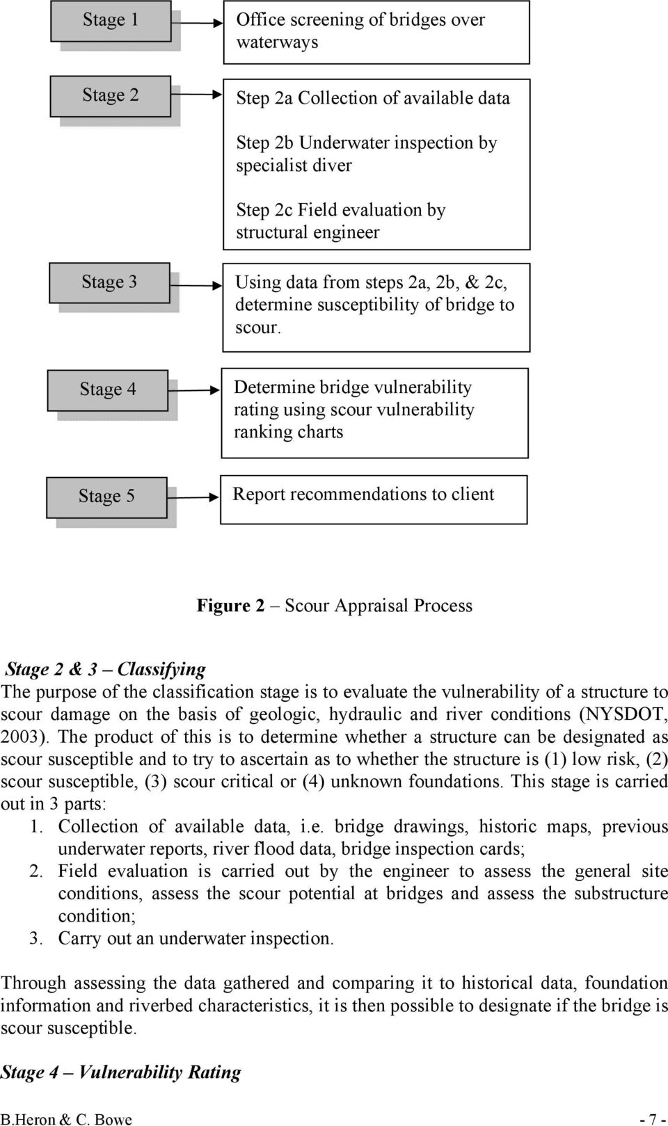 Stage 4 Determine bridge vulnerability rating using scour vulnerability ranking charts Stage 5 Report recommendations to client Figure 2 Scour Appraisal Process Stage 2 & 3 Classifying The purpose of