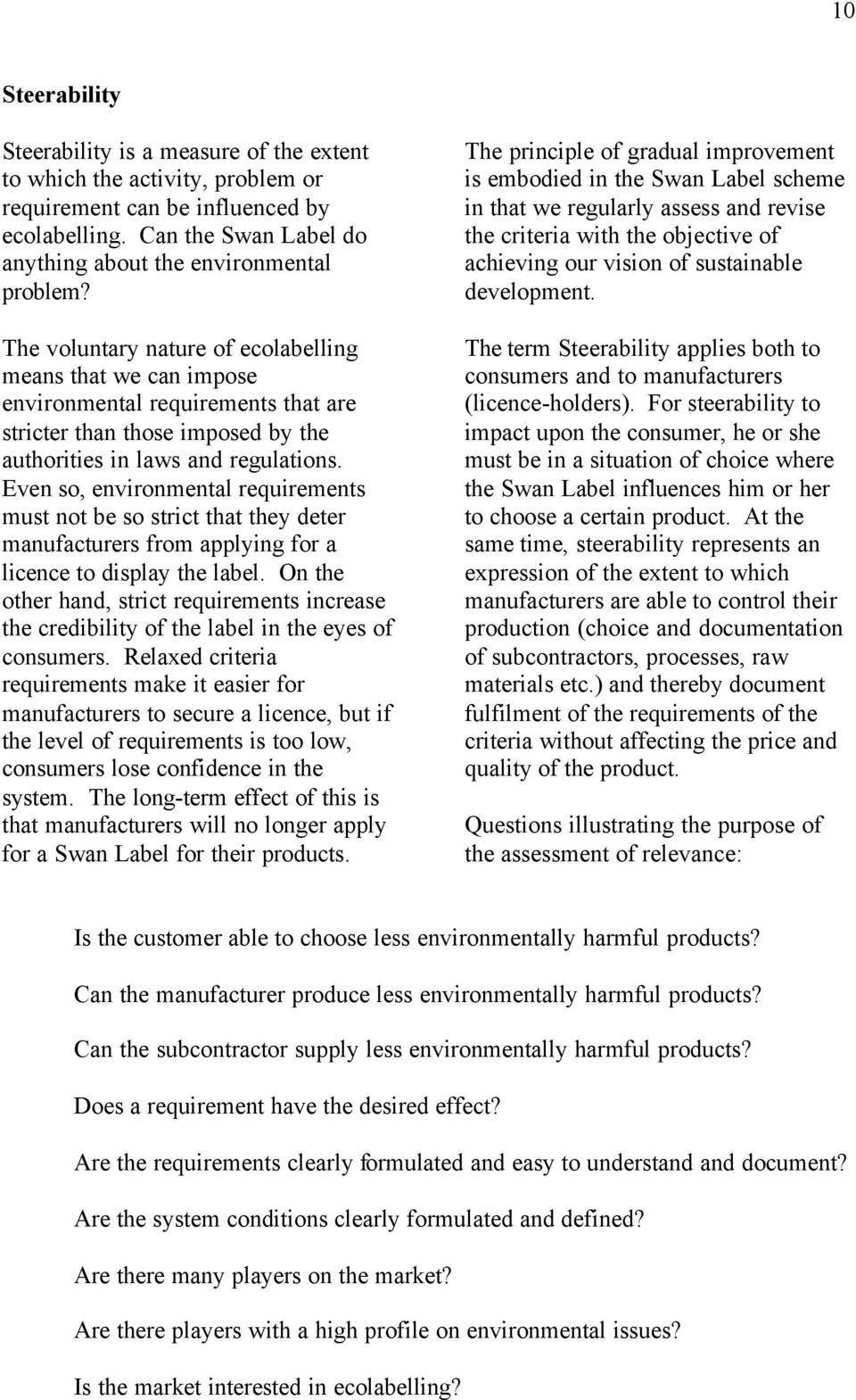 Even so, environmental requirements must not be so strict that they deter manufacturers from applying for a licence to display the label.