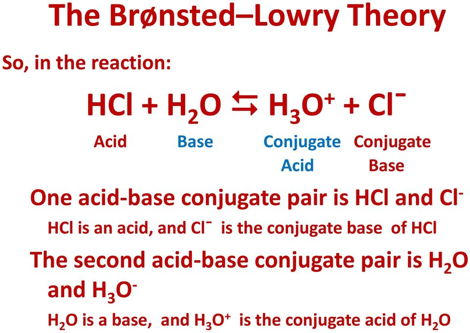 HCl is an acid, and Clˉ is the conjugate base of HCl The second acid base