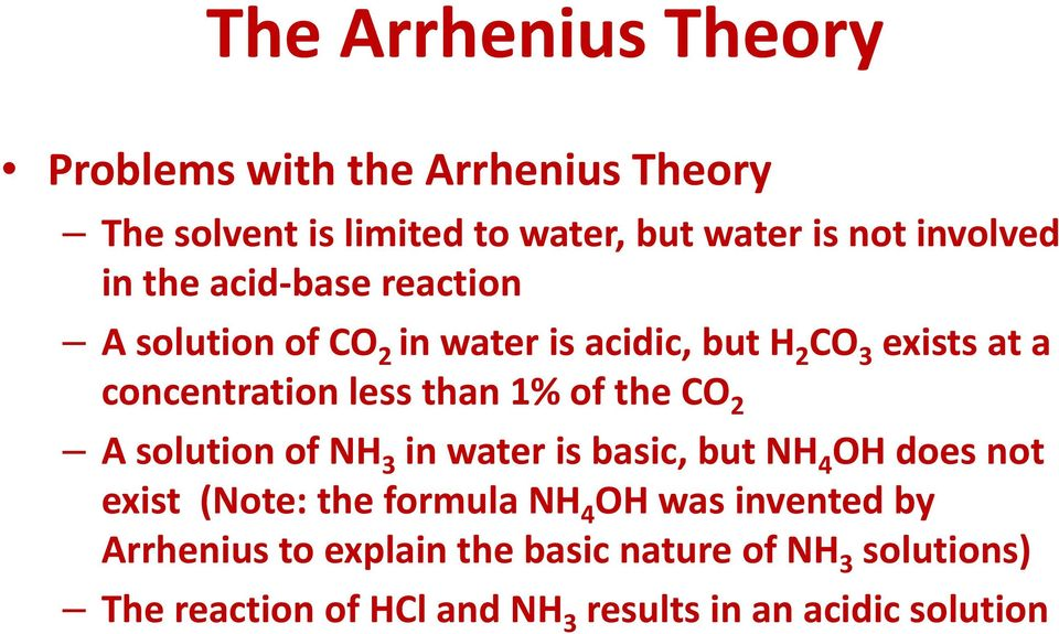 of the CO 2 A solution of NH 3 in water is basic, but NH 4 OH does not exist (Note: the formula NH 4 OH was invented