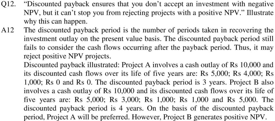 The discounted payback period still fails to consider the cash flows occurring after the payback period. Thus, it may reject positive NPV projects.