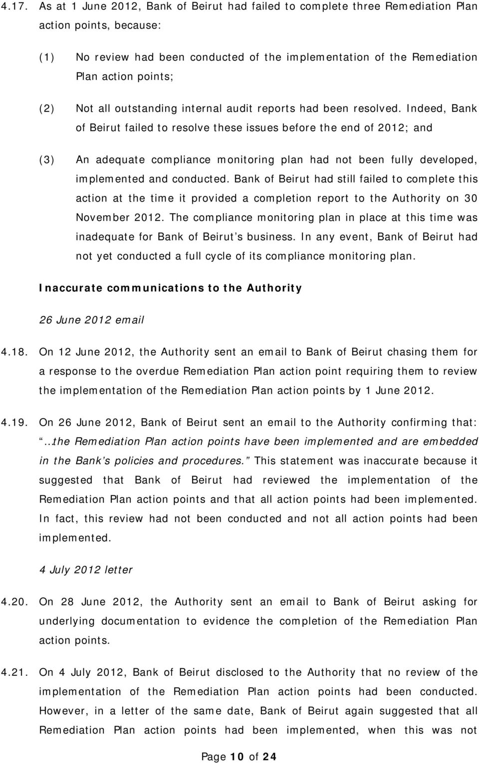 Indeed, Bank of Beirut failed to resolve these issues before the end of 2012; and (3) An adequate compliance monitoring plan had not been fully developed, implemented and conducted.