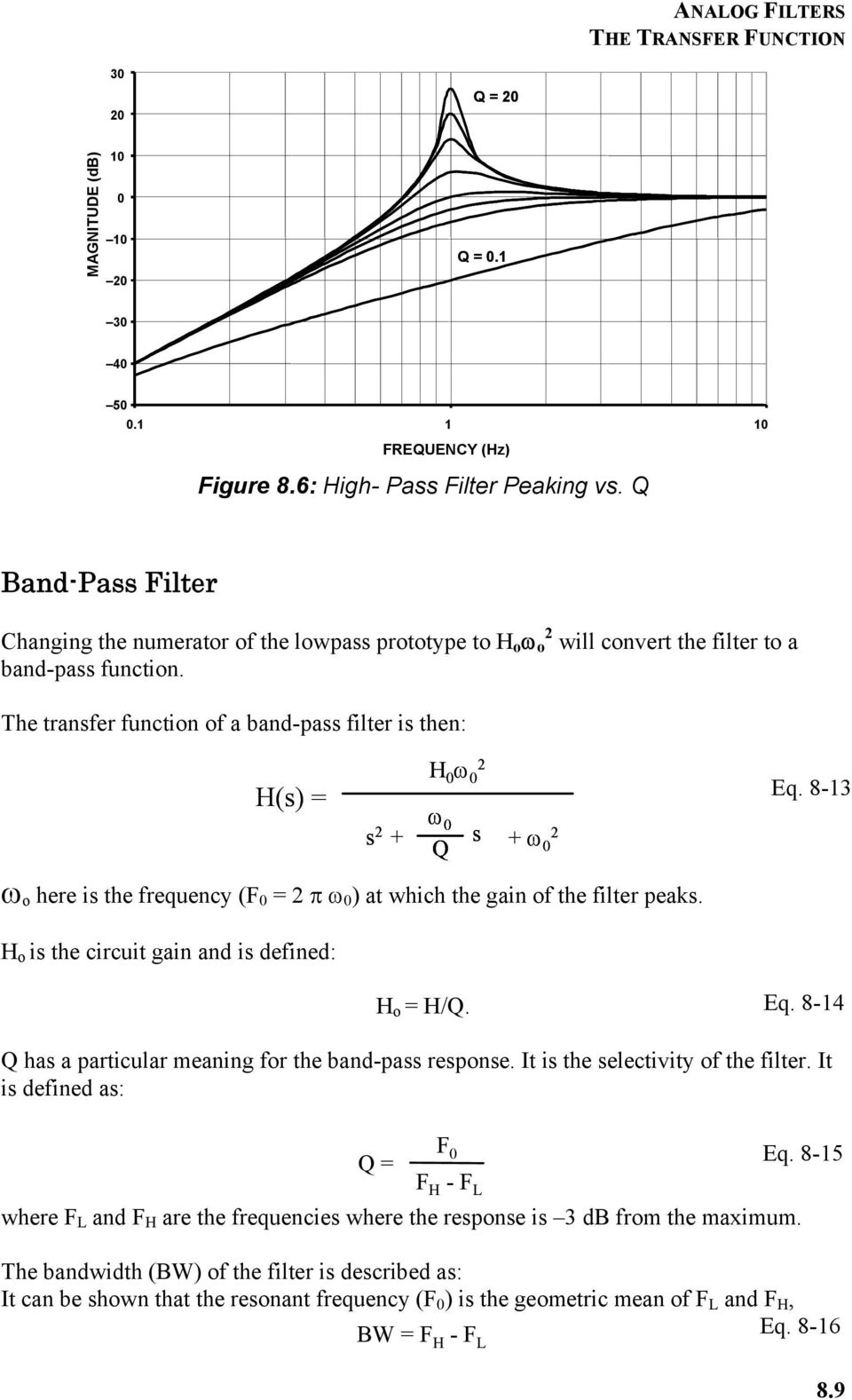 Chapter 8 Analog Filters Pdf Lm833 3 Band Audio Equalizer The Transfer Function Of A Bandpass Filter Is Then Hs S