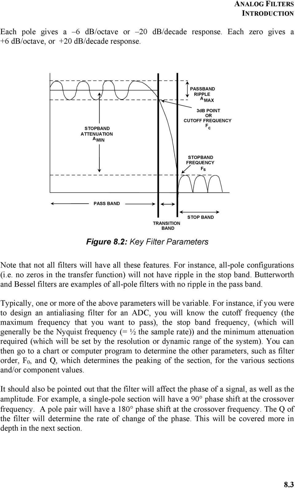 Chapter 8 Analog Filters Pdf Bessel Filter Frequency Response On Electronic Schematic 2 Key Parameters Note That Not All Will Have These Features