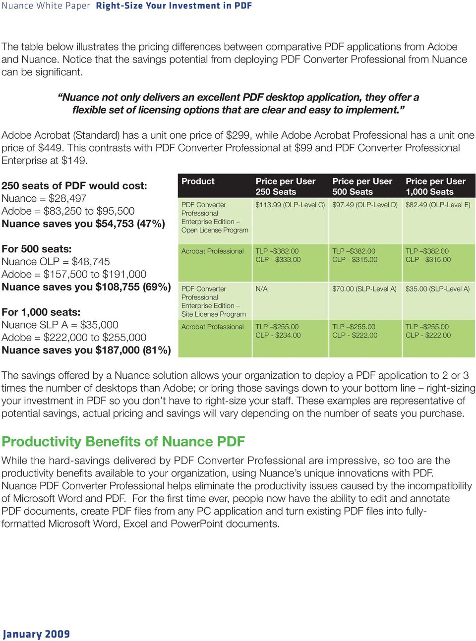 Nuance not only delivers an excellent PDF desktop application, they offer a flexible set of licensing options that are clear and easy to implement.