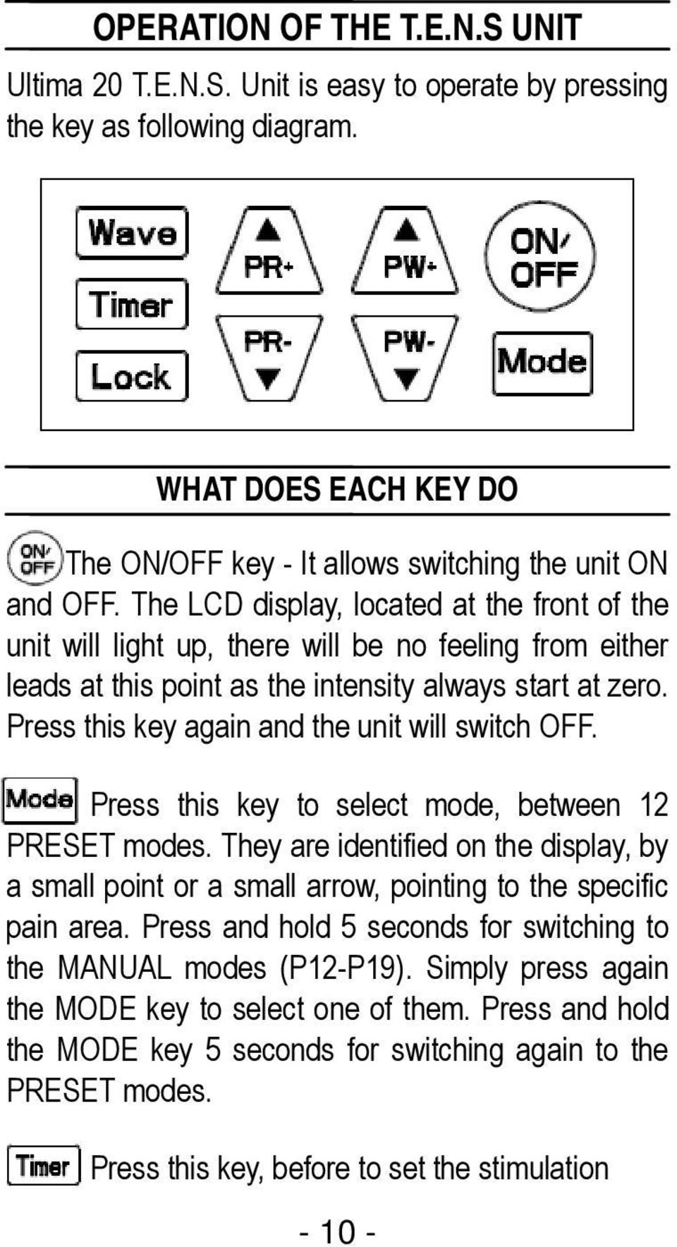 Press this key again and the unit will switch OFF. Press this key to select mode, between 12 PRESET modes.