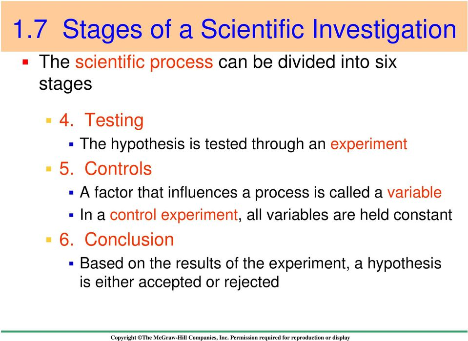 Controls A factor that influences a process is called a variable In a control experiment, all