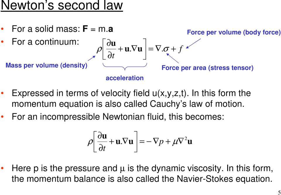 In this form the momentum equation is also called Cauchy s law of motion.