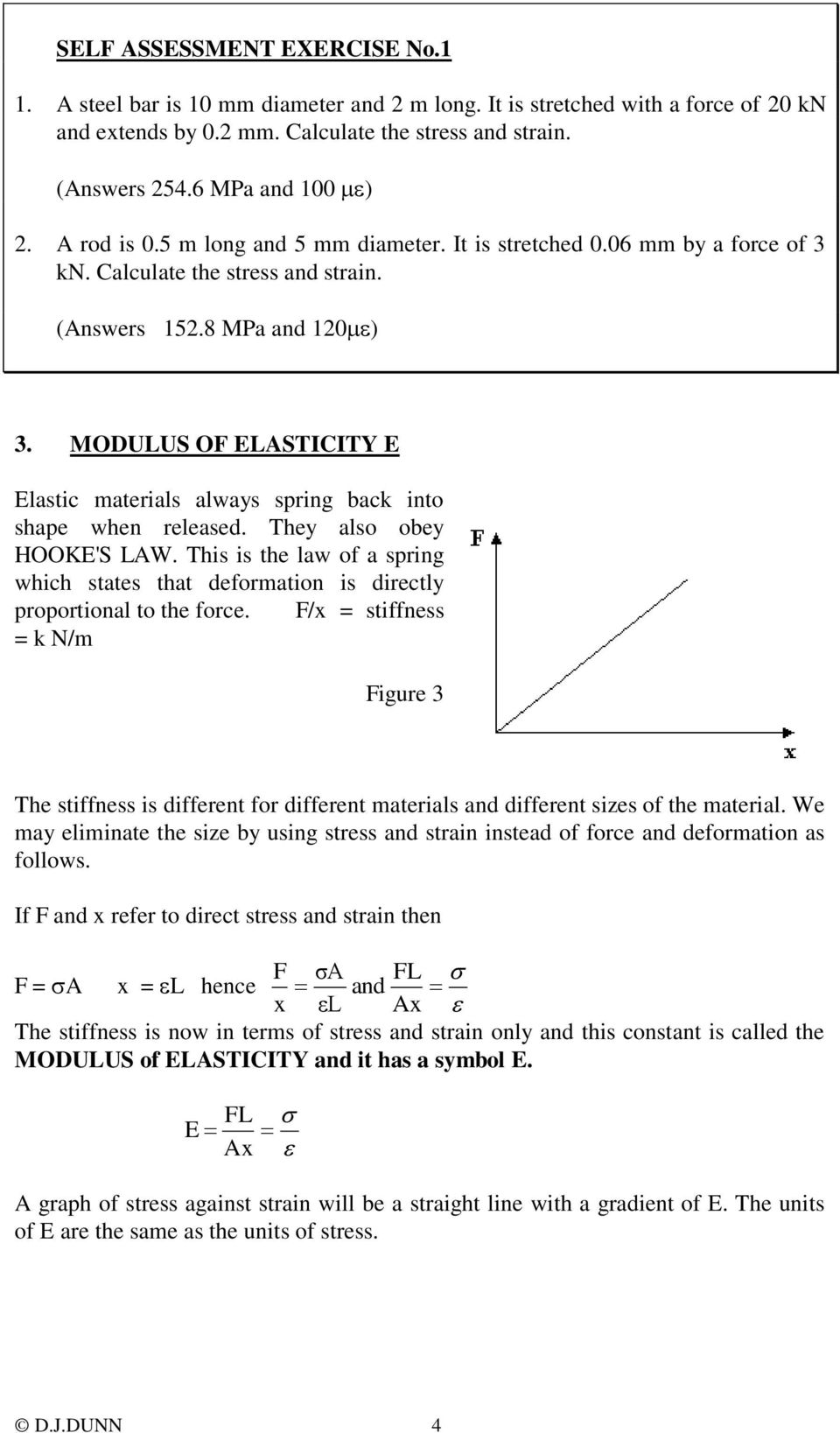 MODULUS O ELASTICITY E Elastic materials always spring back into shape when released. They also obey HOOKE'S LAW.