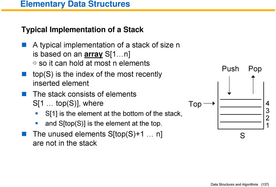 of elements S[1 top(s)], where S[1] is the element at the bottom of the stack, and S[top(S)] is the element at