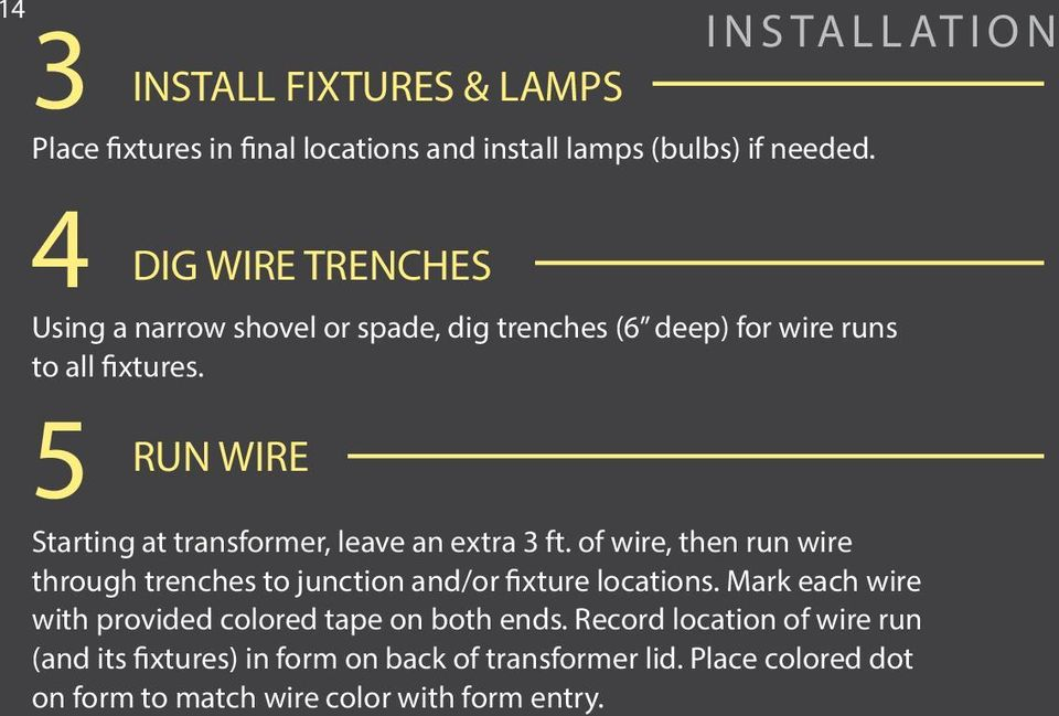 5 INSTALL FIXTURES & LAMPS DIG WIRE TRENCHES RUN WIRE INSTALLATION Starting at transformer, leave an extra 3 ft.