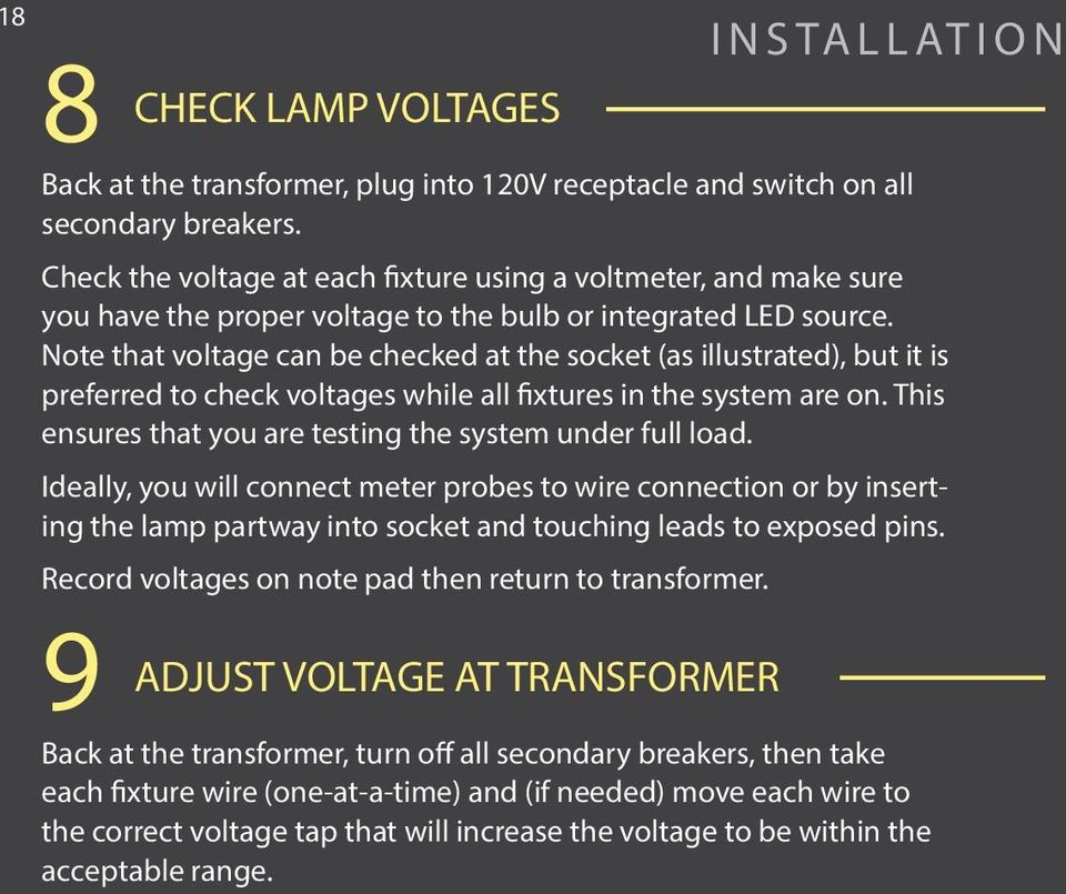 Note that voltage can be checked at the socket (as illustrated), but it is preferred to check voltages while all fixtures in the system are on.