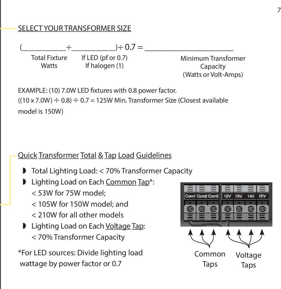 Transformer Size (Closest available model is 150W) Quick Transformer Total & Tap Load Guidelines Total Lighting Load: < 70% Transformer Capacity Lighting Load on