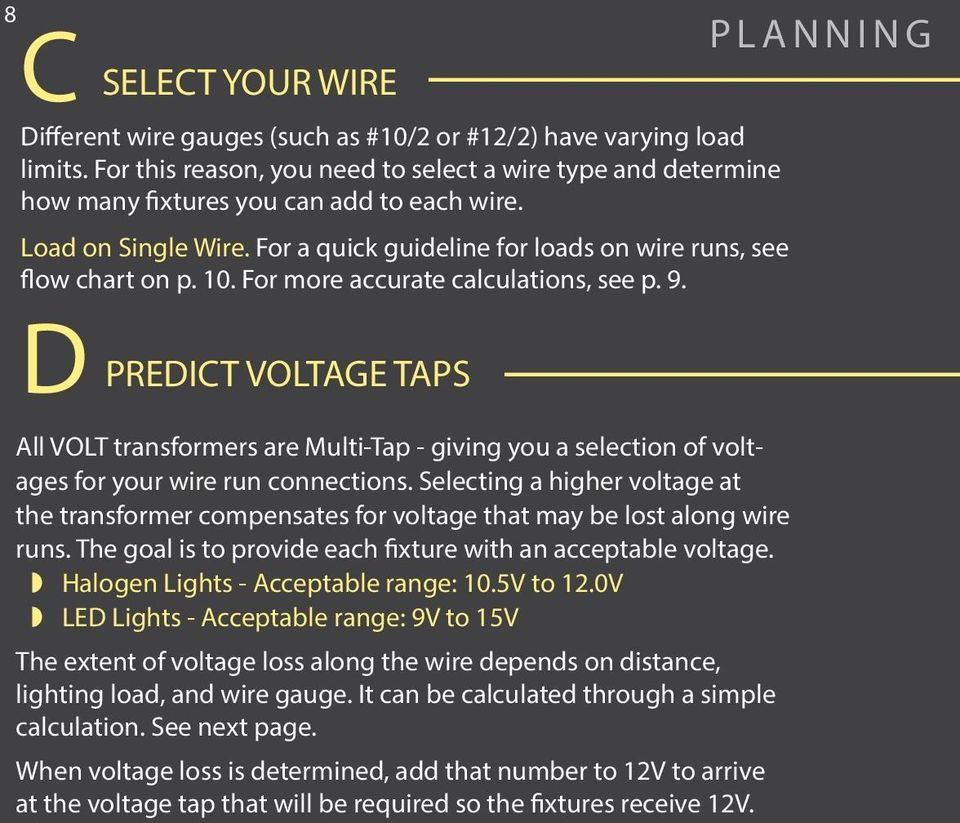D SELECT YOUR WIRE PREDICT VOLTAGE TAPS All VOLT transformers are Multi-Tap - giving you a selection of voltages for your wire run connections.