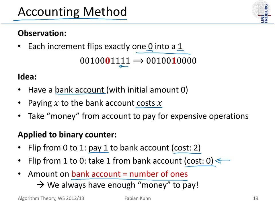 Applied to binary counter: Flip from 0 to 1: pay 1 to bank account (cost: 2) Flip from 1 to 0: take 1 from bank account