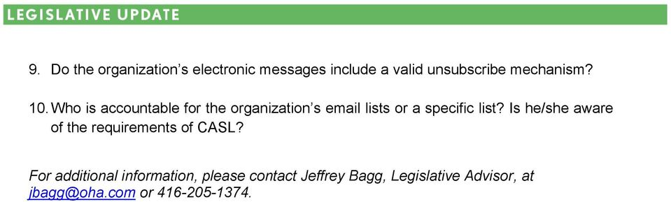 Who is accountable for the organization s email lists or a specific list?