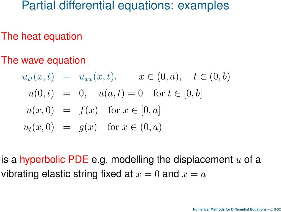 g(x) for x [0,a] for x (0,a) is a hyperbolic PDE e.g. modelling the displacement u of a