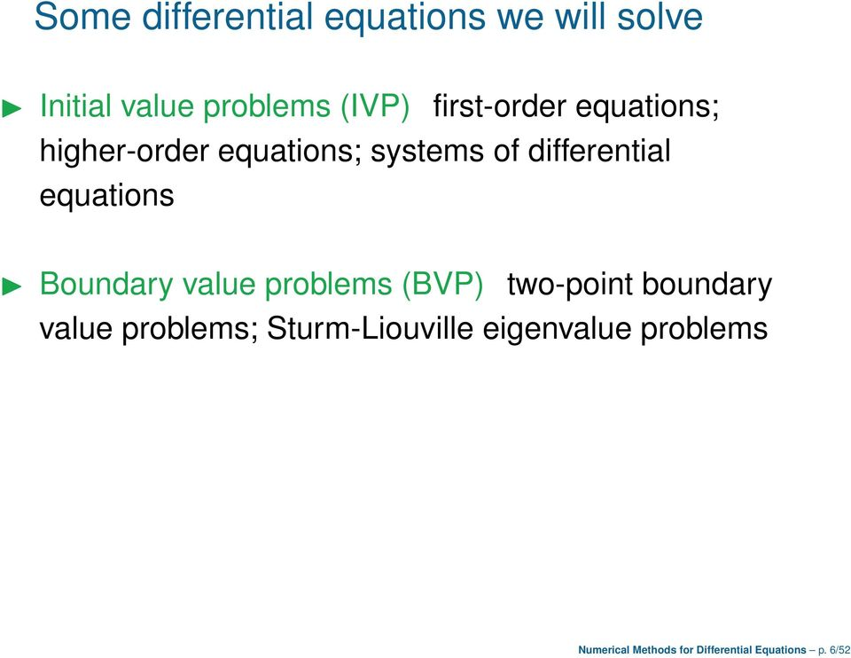 equations Boundary value problems (BVP) two-point boundary value problems;