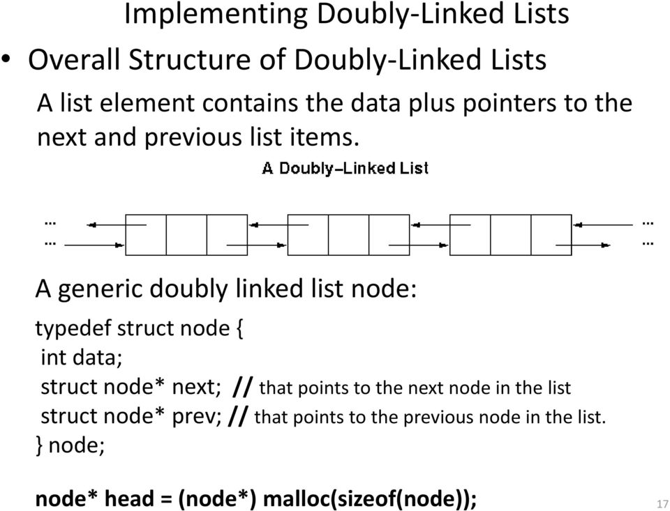 A generic doubly linked list node: typedef struct node int data; struct node* next; // that points to