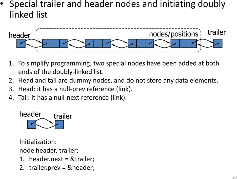 Head and tail are dummy nodes, and do not store any data elements. 3. Head: it has a null-prev reference (link). 4.