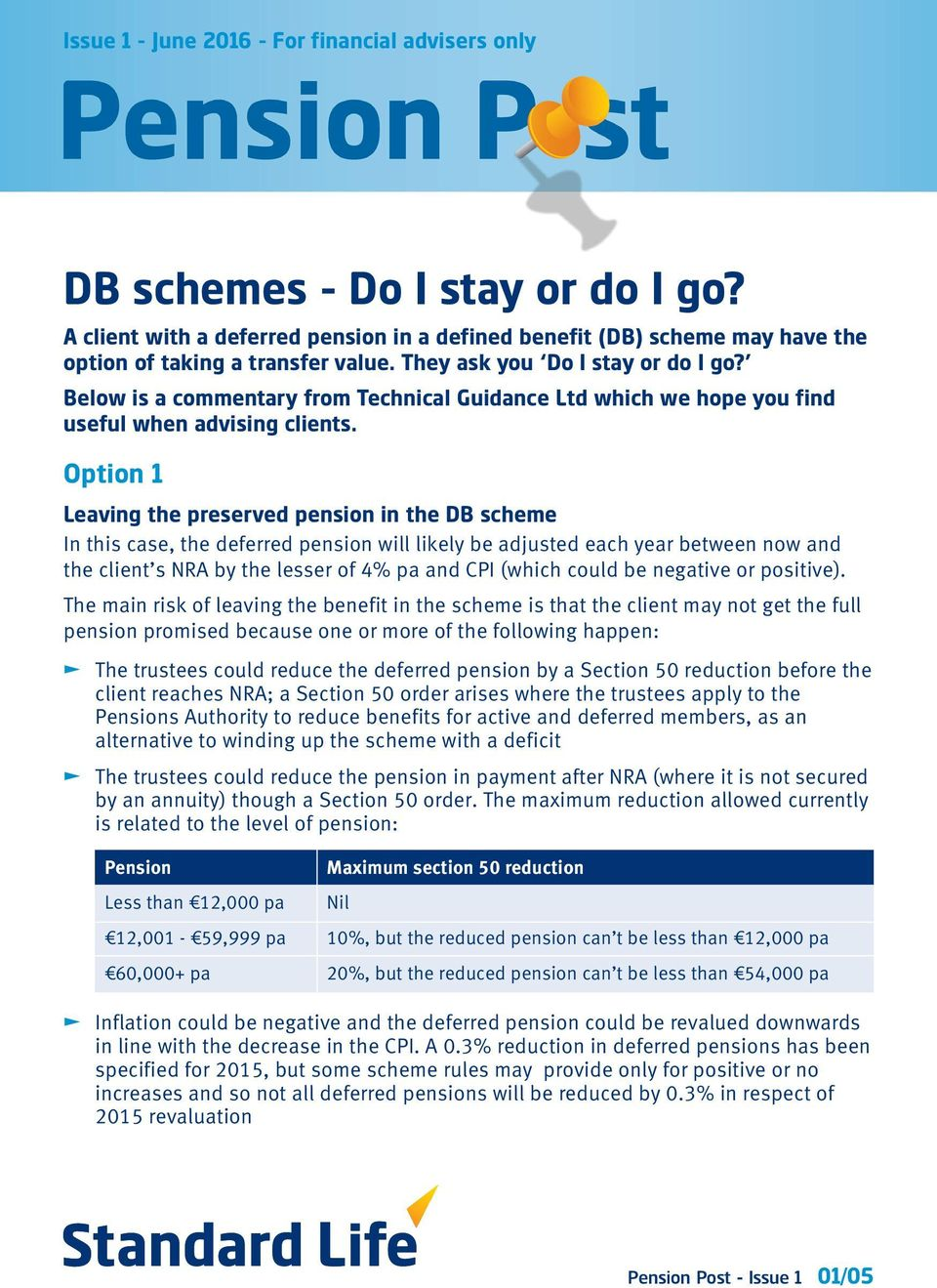 Option 1 Leaving the preserved pension in the DB scheme In this case, the deferred pension will likely be adjusted each year between now and the client s NRA by the lesser of 4% pa and CPI (which