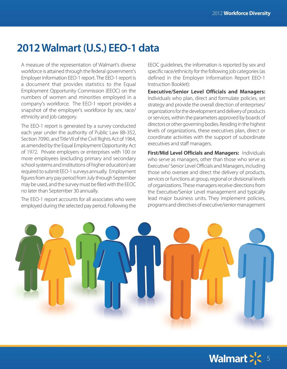 The EEO-1 report provides a snapshot of the employer's workforce by sex, race/ ethnicity and job category.
