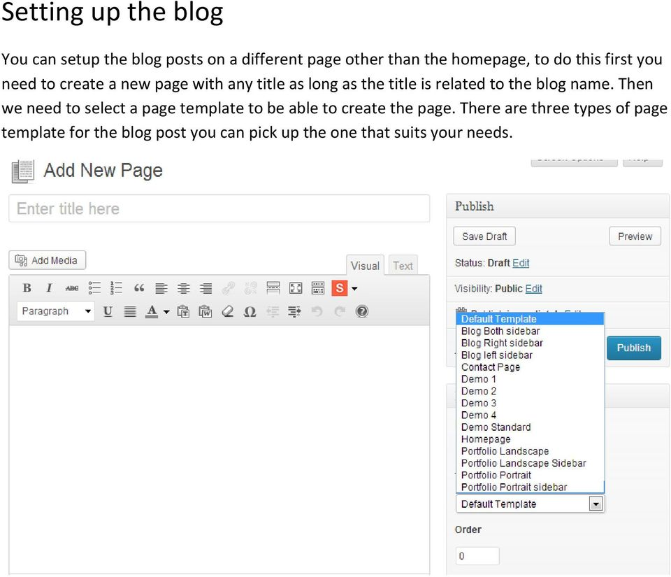 to the blog name. Then we need to select a page template to be able to create the page.