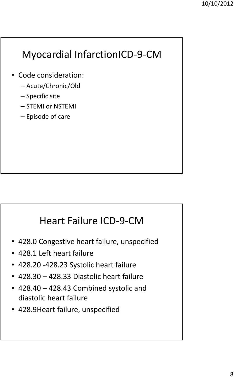 1 Left heart failure 428.20 428.23 Systolic heart failure 428.30 428.