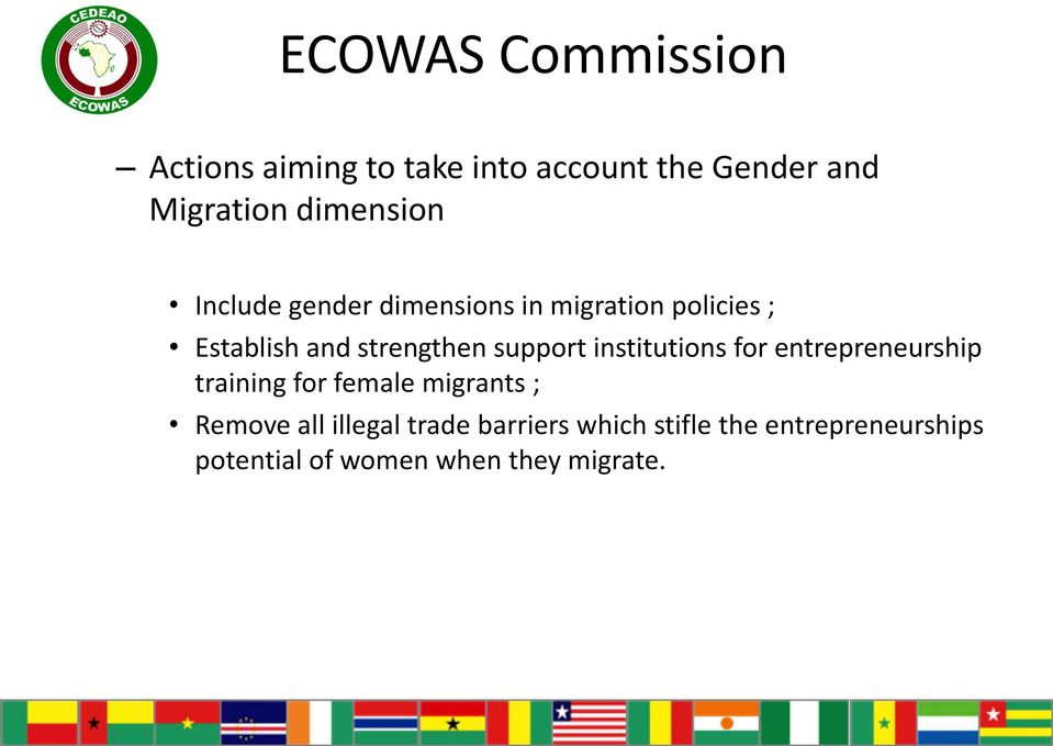 institutions for entrepreneurship training for female migrants ; Remove all