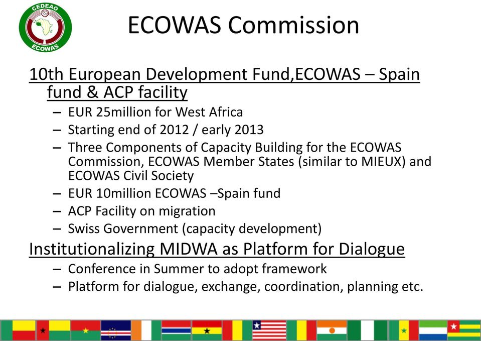 Society EUR 10million ECOWAS Spain fund ACP Facility on migration Swiss Government (capacity development) Institutionalizing