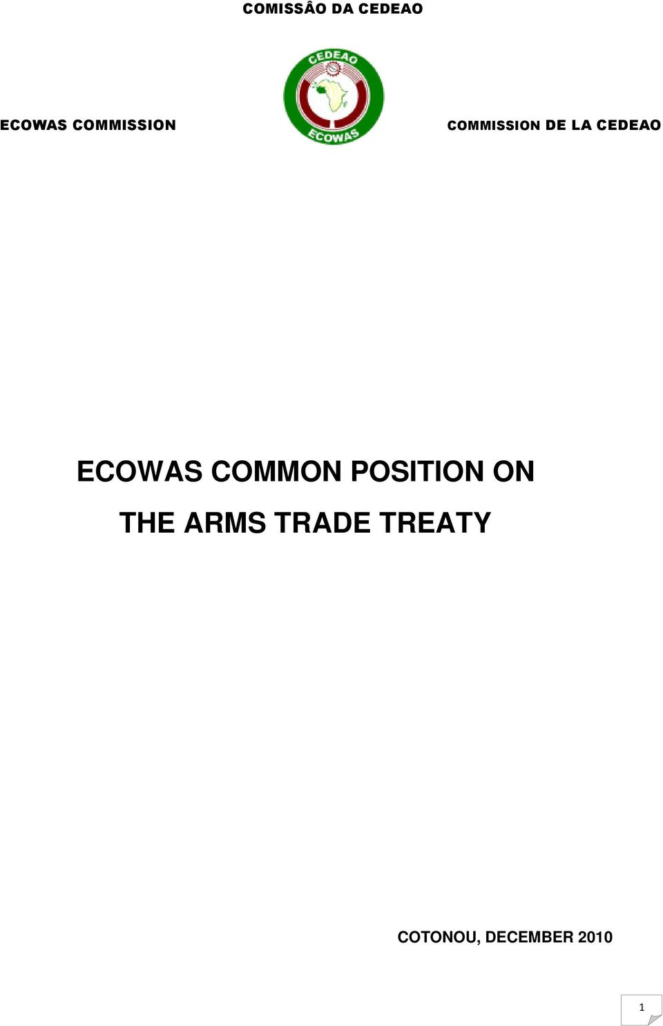 CEDEAO ECOWAS COMMON POSITION ON
