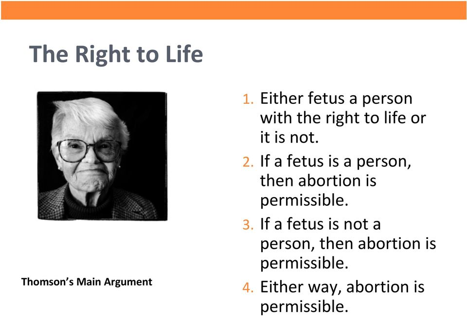If a fetus is a person, then abortion is permissible. 3.