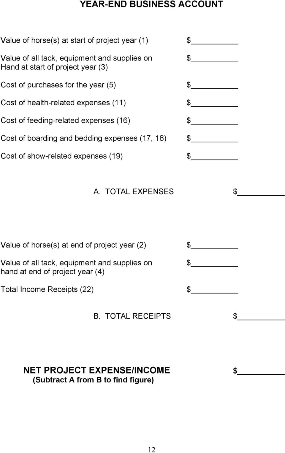 18) Cost of show-related expenses (19) $ $ $ $ $ $ $ A.
