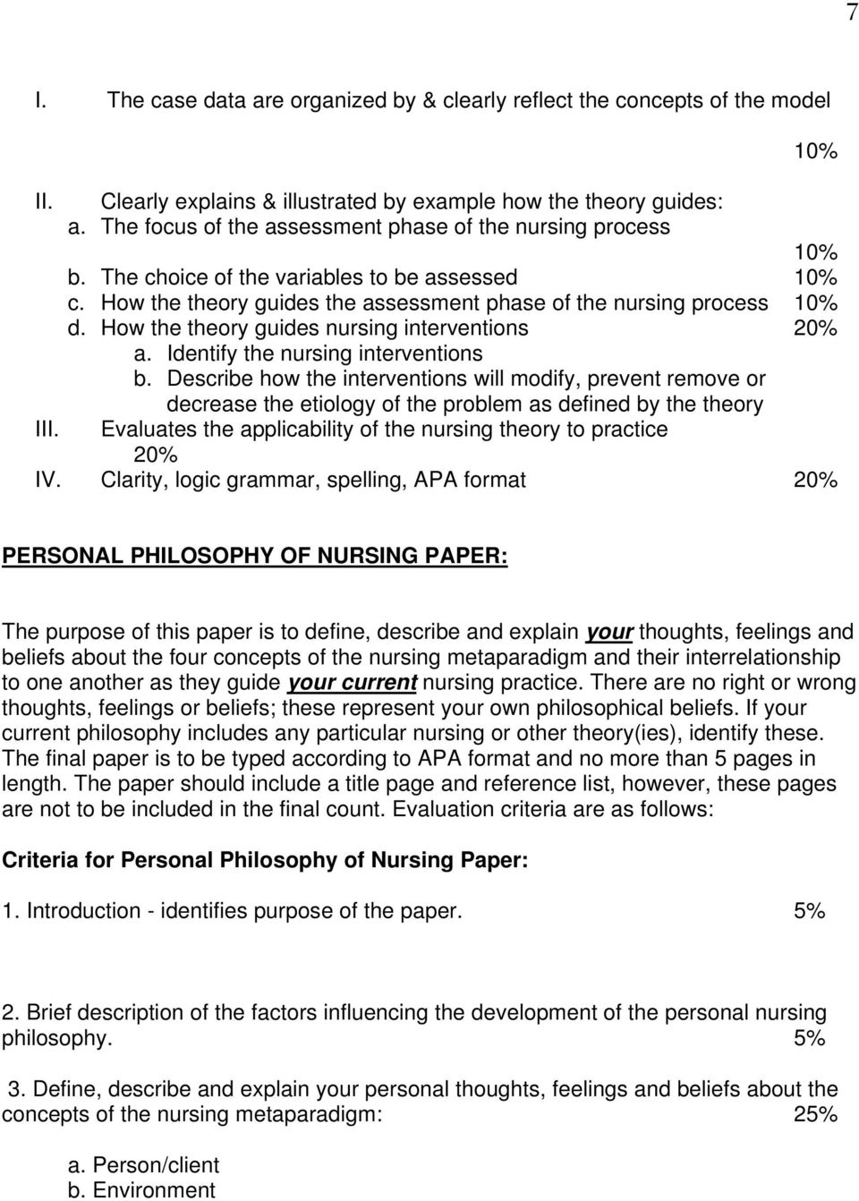 How the theory guides nursing interventions 20% a. Identify the nursing interventions b.