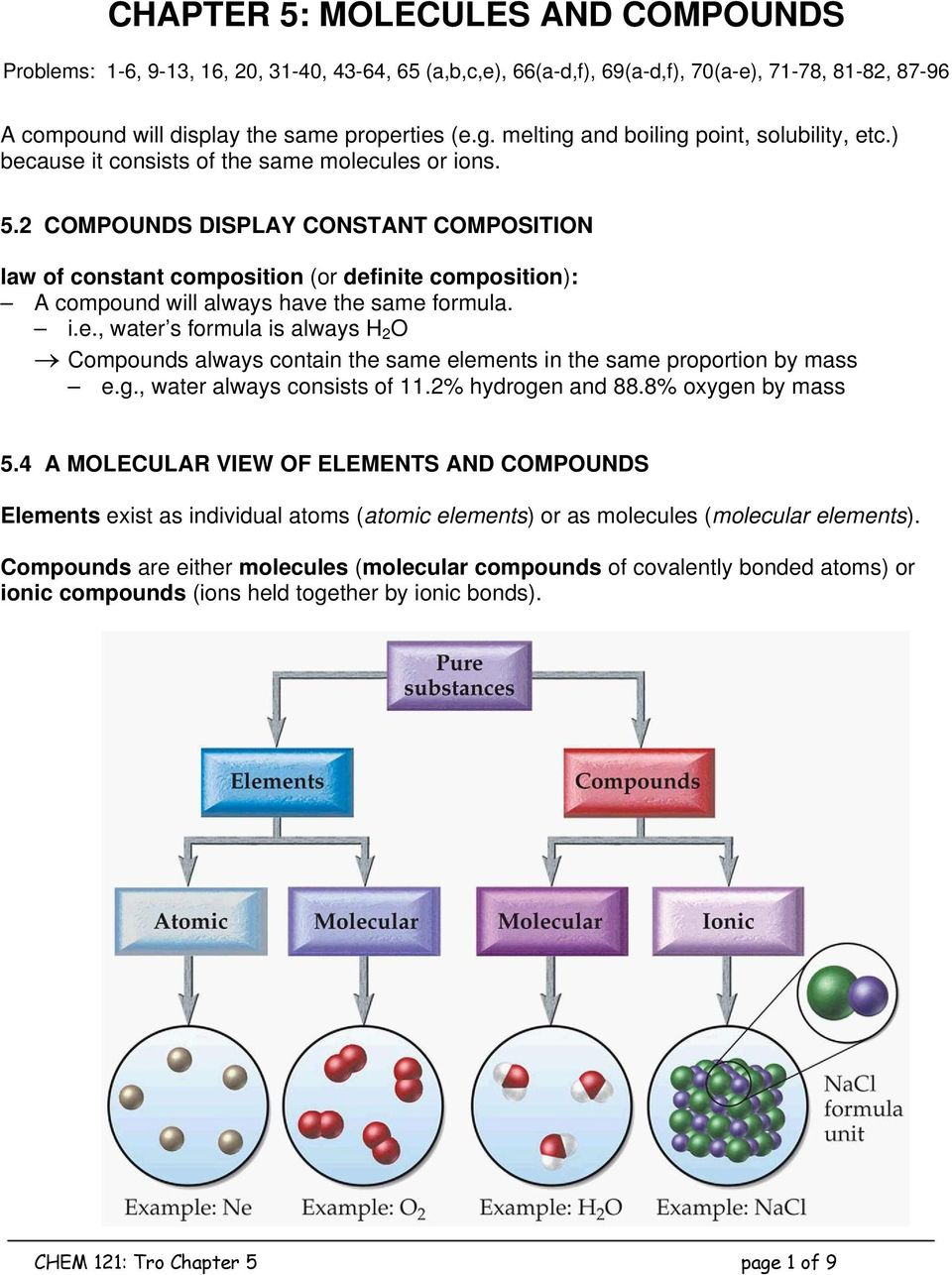 2 COMPOUNDS DISPLAY CONSTANT COMPOSITION law of constant composition (or definite composition): A compound will always have the same formula. i.e., water s formula is always H 2 O Compounds always contain the same elements in the same proportion by mass e.