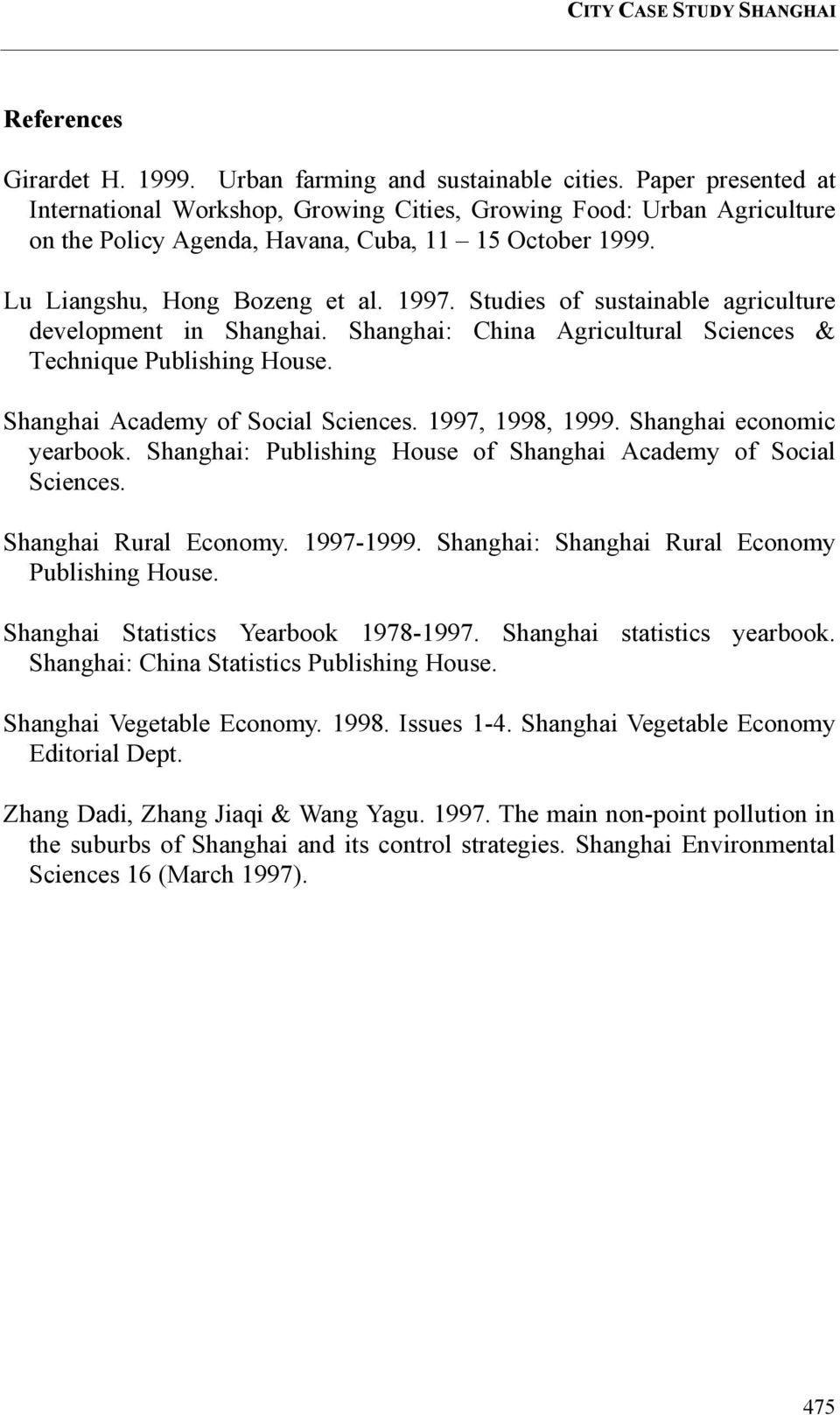 Studies of sustainable agriculture development in Shanghai. Shanghai: China Agricultural Sciences & Technique Publishing House. Shanghai Academy of Social Sciences. 1997, 1998, 1999.