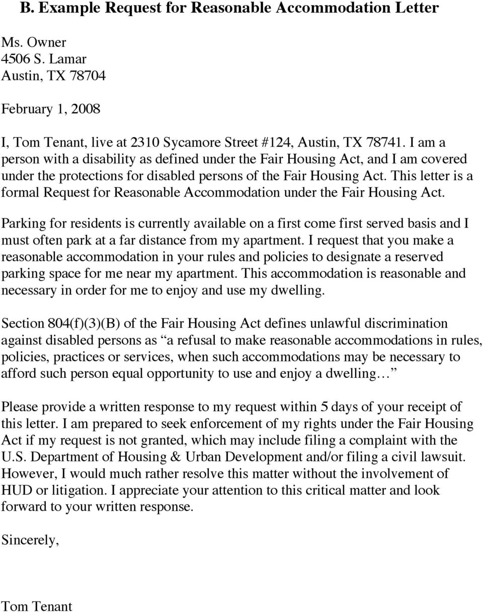 This letter is a formal Request for Reasonable Accommodation under the Fair Housing Act.