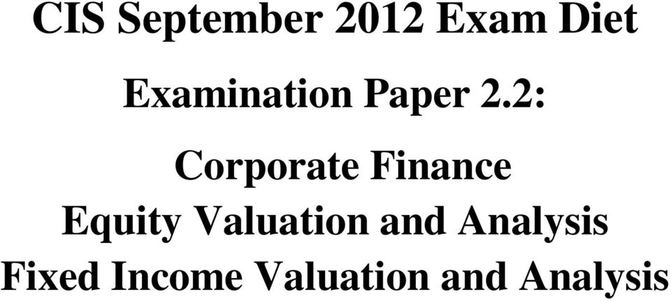 2: Corporate Finance Equity