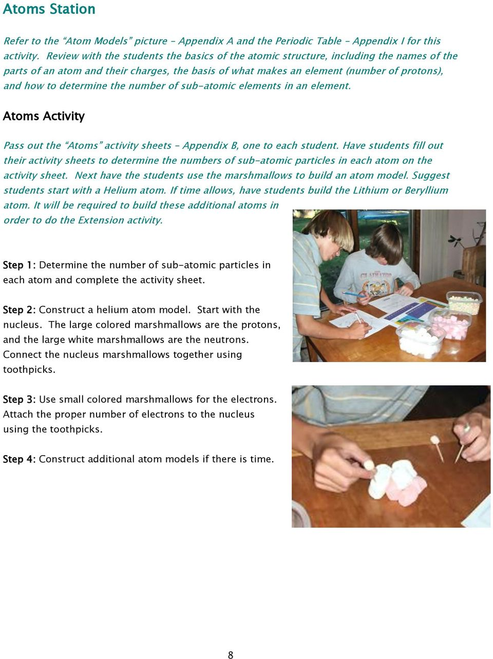 determine the number of sub-atomic elements in an element. Atoms Activity Pass out the Atoms activity sheets Appendix B, one to each student.