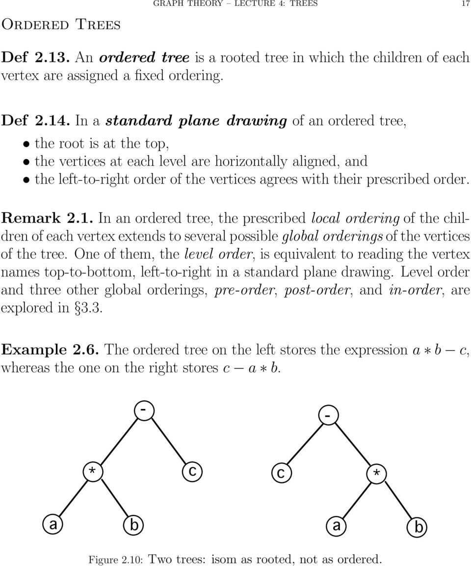 order. Remark 2.1. In an ordered tree, the prescribed local ordering of the children of each vertex extends to several possible global orderings of the vertices of the tree.