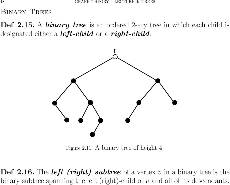 left-child or a right-child. Figure 2.11: A binary tree of height 4. Def 2.16.