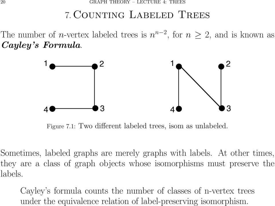 1 2 1 2 4 3 4 3 Figure 7.1: Two different labeled trees, isom as unlabeled.