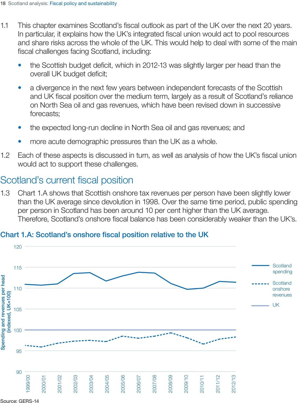 This would help to deal with some of the main fiscal challenges facing Scotland, including: the Scottish budget deficit, which in 2012-13 was slightly larger per head than the overall UK budget