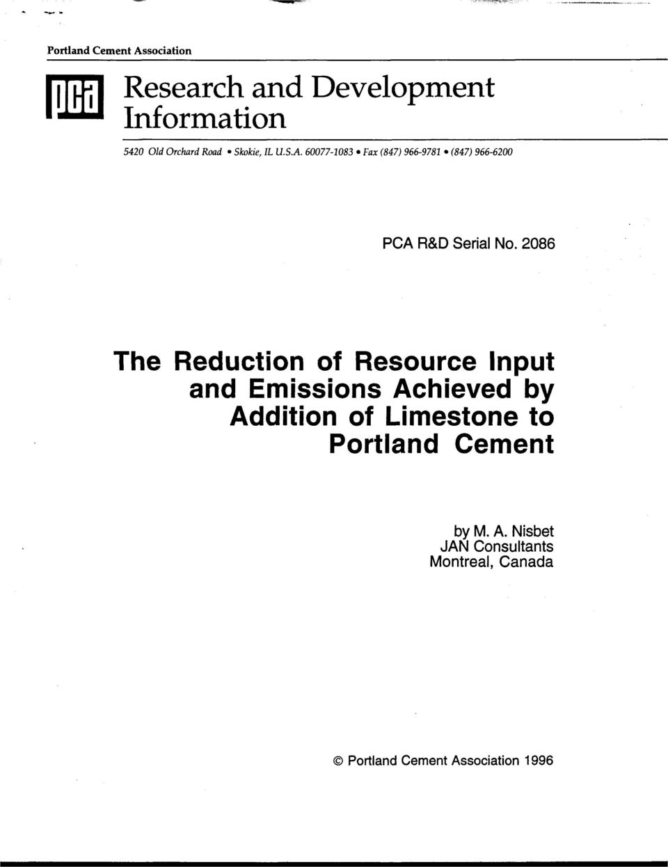 2086 The Reduction of Resource Input and Emissions Achieved by Addition of Limestone to