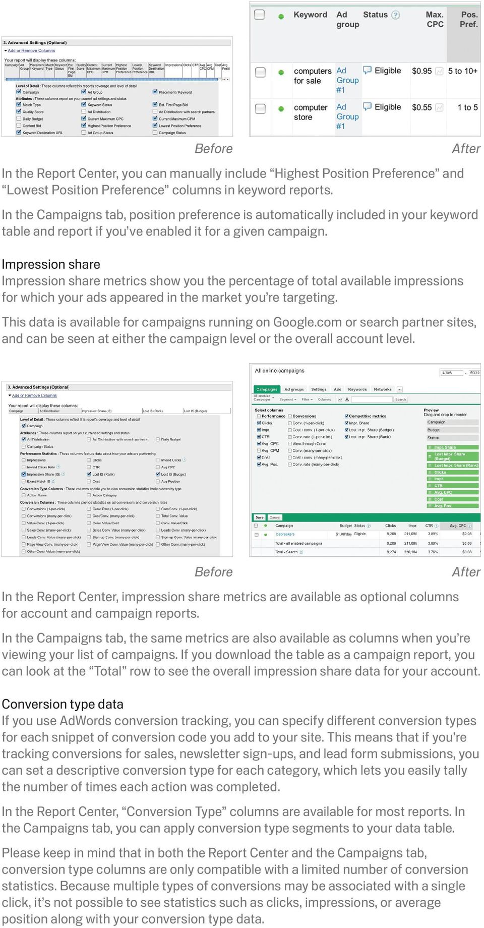 Impression share Impression share metrics show you the percentage of total available impressions for which your ads appeared in the market you re targeting.