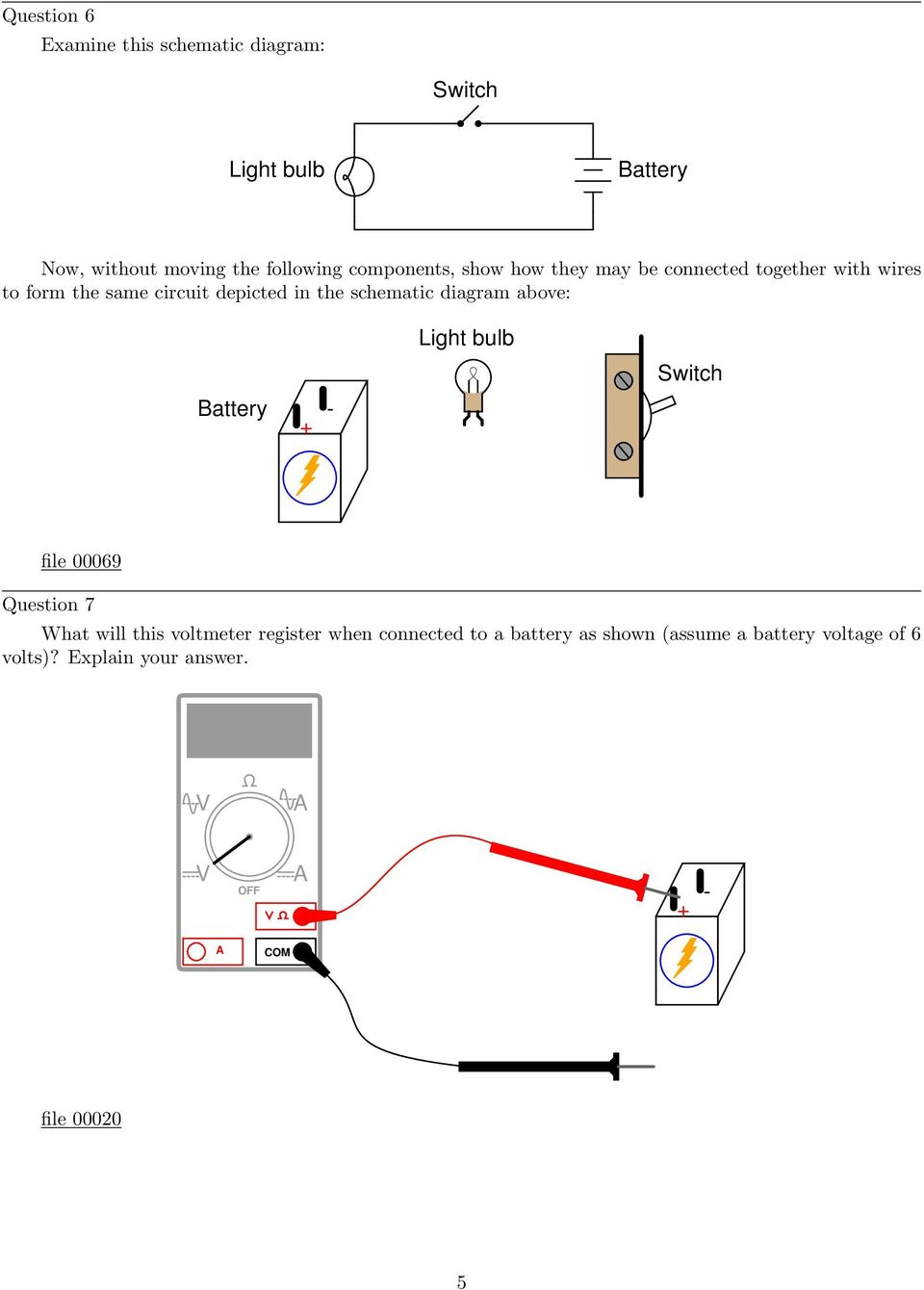 Simple Circuits Worksheet Pdf Circuit Diagram Bulb Schematic Above Light Switch Battery File 00069 Question 7 What Will This