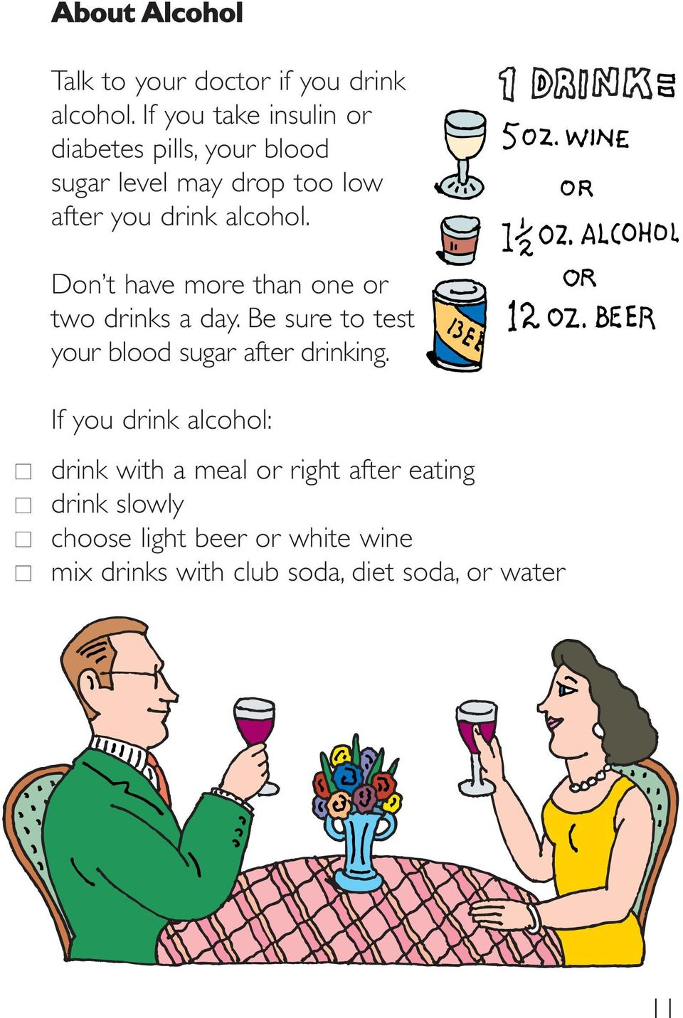 Don t have more than one or two drinks a day. Be sure to test your blood sugar after drinking.